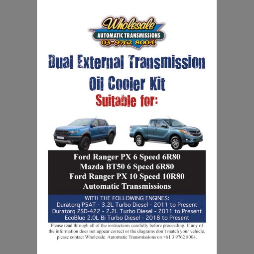 Dual External Oil Cooler Kit Instructions Front Page to suit Ford Ranger PX & Mazda BT50 6 and 10 Speed Auto
